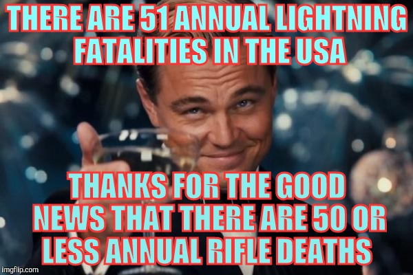 Leonardo Dicaprio Cheers Meme | THERE ARE 51 ANNUAL LIGHTNING FATALITIES IN THE USA THANKS FOR THE GOOD NEWS THAT THERE ARE 50 OR LESS ANNUAL RIFLE DEATHS | image tagged in memes,leonardo dicaprio cheers | made w/ Imgflip meme maker