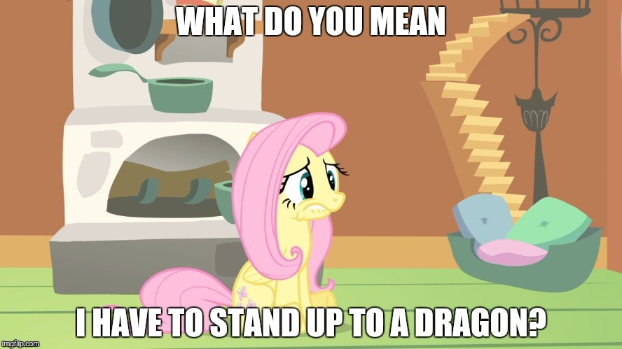 This pony is afraid of her own shadow! | WHAT DO YOU MEAN I HAVE TO STAND UP TO A DRAGON? | image tagged in memes,fluttershy,dragon | made w/ Imgflip meme maker