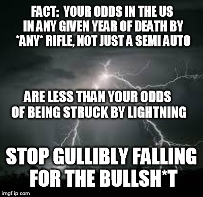 FACT:  YOUR ODDS IN THE US IN ANY GIVEN YEAR OF DEATH BY *ANY* RIFLE, NOT JUST A SEMI AUTO ARE LESS THAN YOUR ODDS OF BEING STRUCK BY LIGHTN | made w/ Imgflip meme maker