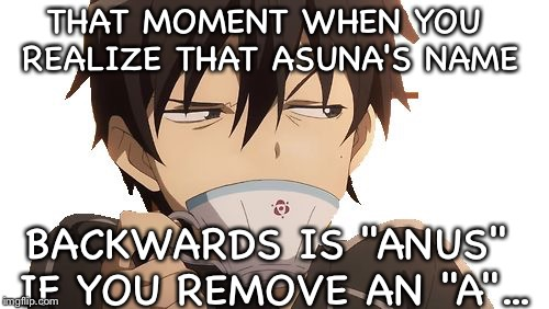 "Idk about you, but... | THAT MOMENT WHEN YOU REALIZE THAT ASUNA'S NAME BACKWARDS IS ""ANUS"" IF YOU REMOVE AN ""A""... 
