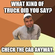 WHAT KIND OF TRUCK DID YOU SAY? CHECK THE CAB ANYWAY. | made w/ Imgflip meme maker