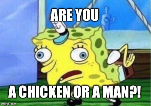 Mocking Spongebob Meme | ARE YOU A CHICKEN OR A MAN?! | image tagged in memes,mocking spongebob | made w/ Imgflip meme maker
