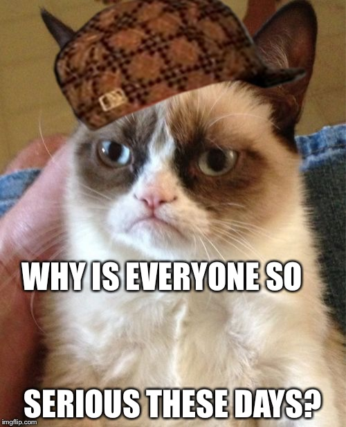 Grumpy Cat Meme | WHY IS EVERYONE SO SERIOUS THESE DAYS? | image tagged in memes,grumpy cat,scumbag | made w/ Imgflip meme maker