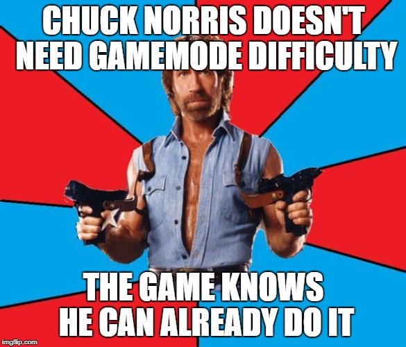 Chuck Norris With Guns Meme | CHUCK NORRIS DOESN'T NEED GAMEMODE DIFFICULTY THE GAME KNOWS HE CAN ALREADY DO IT | image tagged in memes,chuck norris with guns,chuck norris | made w/ Imgflip meme maker