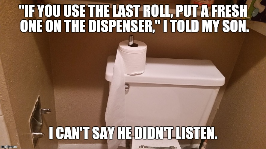 """IF YOU USE THE LAST ROLL, PUT A FRESH ONE ON THE DISPENSER,"" I TOLD MY SON. I CAN'T SAY HE DIDN'T LISTEN. 