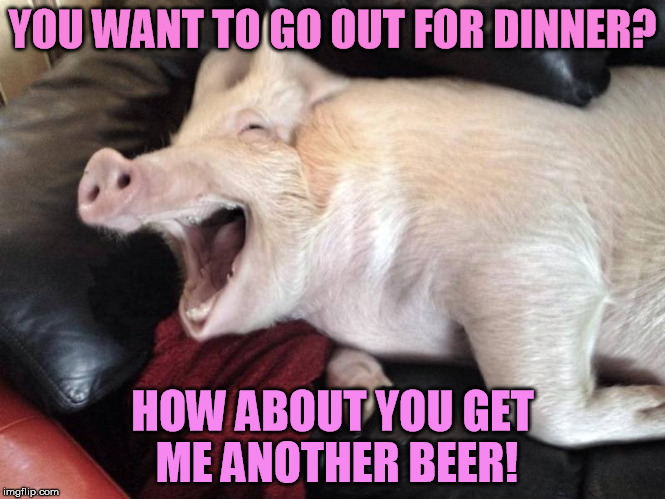 YOU WANT TO GO OUT FOR DINNER? HOW ABOUT YOU GET ME ANOTHER BEER! | made w/ Imgflip meme maker