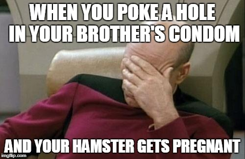 Captain Picard Facepalm Meme | WHEN YOU POKE A HOLE IN YOUR BROTHER'S CONDOM AND YOUR HAMSTER GETS PREGNANT | image tagged in memes,captain picard facepalm | made w/ Imgflip meme maker