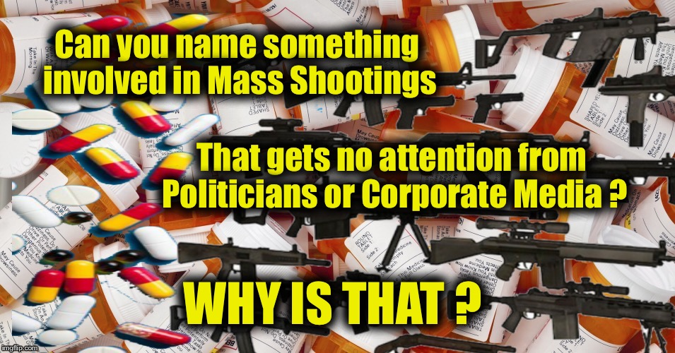 Prescription for Mass Shooting | Can you name something involved in Mass Shootings WHY IS THAT ? That gets no attention from Politicians or Corporate Media ? | image tagged in drug,mass shootings,doctors,adhd,guns,big pharma | made w/ Imgflip meme maker