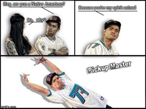 Pickup Master Meme | Hey, are you a Native American? No, why? Because you're my spirit animal | image tagged in memes,pickup master | made w/ Imgflip meme maker