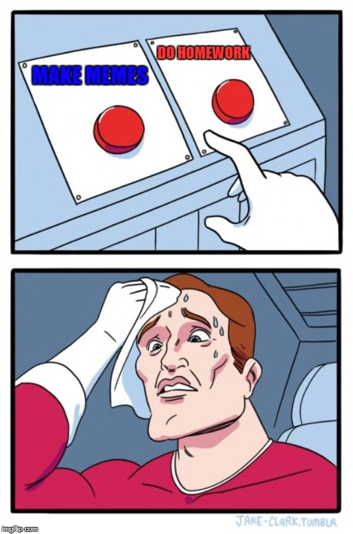 Two Buttons | MAKE MEMES DO HOMEWORK | image tagged in memes,two buttons | made w/ Imgflip meme maker