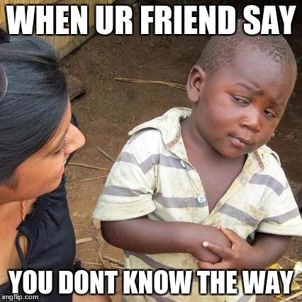 Third World Skeptical Kid Meme | WHEN UR FRIEND SAY YOU DONT KNOW THE WAY | image tagged in memes,third world skeptical kid | made w/ Imgflip meme maker