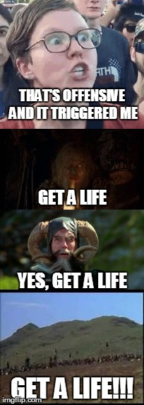 Monty Python and the Triggered Liberal | THAT'S OFFENSIVE AND IT TRIGGERED ME GET A LIFE!!! GET A LIFE YES, GET A LIFE | image tagged in triggered liberal,monty python and the holy grail | made w/ Imgflip meme maker
