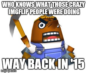 Resetti | WHO KNOWS WHAT THOSE CRAZY IMGFLIP PEOPLE WERE DOING WAY BACK IN '15 | image tagged in resetti | made w/ Imgflip meme maker