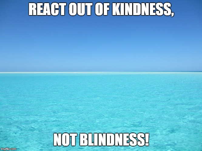 REACT OUT OF KINDNESS, NOT BLINDNESS! | image tagged in attitude goals people success lifestyle | made w/ Imgflip meme maker