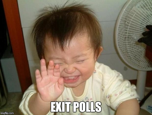Happy Baby | EXIT POLLS | image tagged in happy baby | made w/ Imgflip meme maker