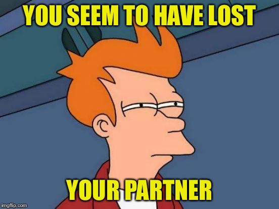 Futurama Fry Meme | YOU SEEM TO HAVE LOST YOUR PARTNER | image tagged in memes,futurama fry | made w/ Imgflip meme maker