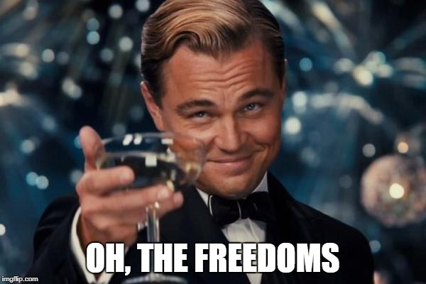 Leonardo Dicaprio Cheers Meme | OH, THE FREEDOMS | image tagged in memes,leonardo dicaprio cheers | made w/ Imgflip meme maker