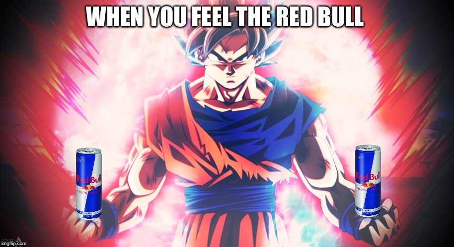 WHEN YOU FEEL THE RED BULL | image tagged in goku,dragon ball z,redbull,power up | made w/ Imgflip meme maker