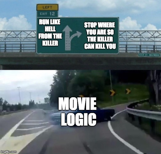 Left Exit 12 Off Ramp Meme | RUN LIKE HELL FROM THE KILLER STOP WHERE YOU ARE SO THE KILLER CAN KILL YOU MOVIE LOGIC | image tagged in memes,left exit 12 off ramp,face palm,movie filmers please | made w/ Imgflip meme maker