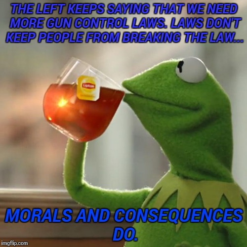 But Thats None Of My Business | THE LEFT KEEPS SAYING THAT WE NEED MORE GUN CONTROL LAWS. LAWS DON'T KEEP PEOPLE FROM BREAKING THE LAW... MORALS AND CONSEQUENCES DO. | image tagged in memes,but thats none of my business,kermit the frog | made w/ Imgflip meme maker