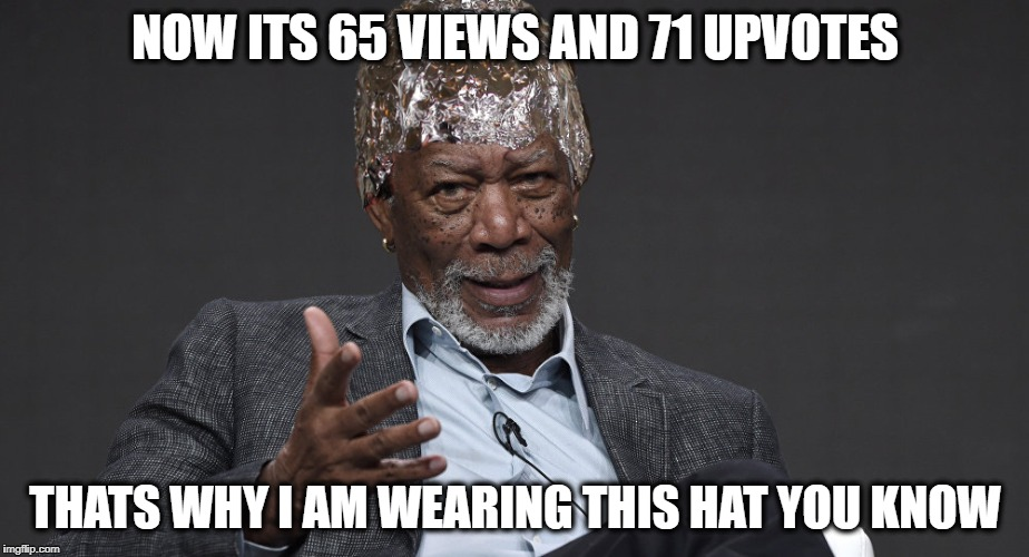 Right Tin Foil | NOW ITS 65 VIEWS AND 71 UPVOTES THATS WHY I AM WEARING THIS HAT YOU KNOW | image tagged in right tin foil | made w/ Imgflip meme maker