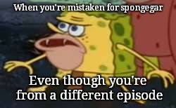 Spongegar | When you're mistaken for spongegar Even though you're from a different episode | image tagged in memes,spongegar | made w/ Imgflip meme maker