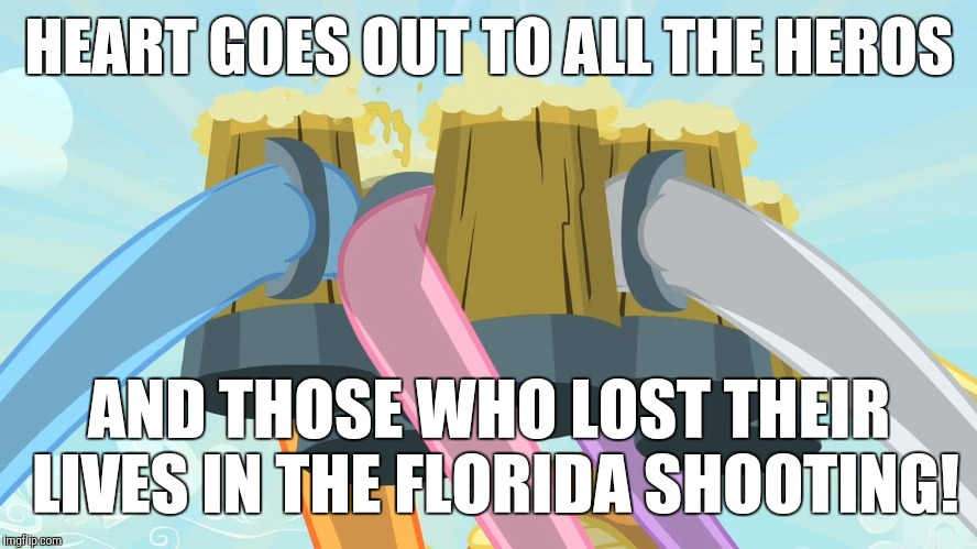 May they forever rest in peace! |  HEART GOES OUT TO ALL THE HEROS; AND THOSE WHO LOST THEIR LIVES IN THE FLORIDA SHOOTING! | image tagged in cheers mlp,memes,florida shooting,school shooting,florida | made w/ Imgflip meme maker