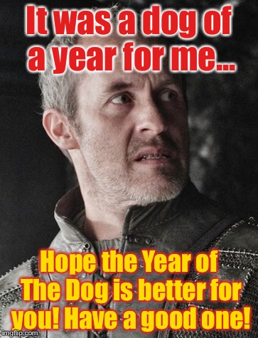 It was a dog of a year for me... Hope the Year of The Dog is better for you! Have a good one! | image tagged in stannis the mannis | made w/ Imgflip meme maker