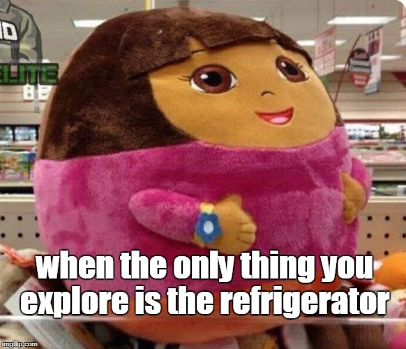 Body Acceptance Dora  | when the only thing you explore is the refrigerator | image tagged in dora the explorer,dora,body acceptance,fat shaming,memes | made w/ Imgflip meme maker