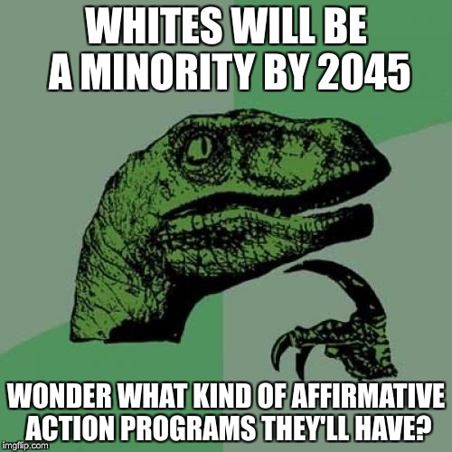 Philosoraptor Meme | WHITES WILL BE A MINORITY BY 2045 WONDER WHAT KIND OF AFFIRMATIVE ACTION PROGRAMS THEY'LL HAVE? | image tagged in memes,philosoraptor | made w/ Imgflip meme maker