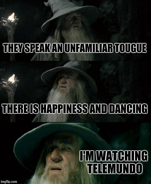 Confused Gandalf Meme | THEY SPEAK AN UNFAMILIAR TOUGUE THERE IS HAPPINESS AND DANCING I'M WATCHING TELEMUNDO | image tagged in memes,confused gandalf | made w/ Imgflip meme maker