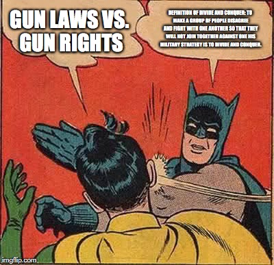 Batman Slapping Robin Meme | GUN LAWS VS. GUN RIGHTS DEFINITION OF DIVIDE AND CONQUER: TO MAKE A GROUP OF PEOPLE DISAGREE AND FIGHT WITH ONE ANOTHER SO THAT THEY WILL NO | image tagged in memes,batman slapping robin | made w/ Imgflip meme maker