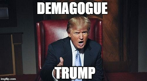 DEMAGOGUE TRUMP | image tagged in donald trump | made w/ Imgflip meme maker
