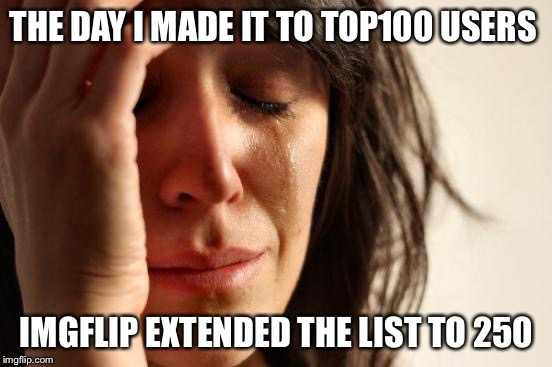 First World Problems Meme | THE DAY I MADE IT TO TOP100 USERS IMGFLIP EXTENDED THE LIST TO 250 | image tagged in memes,first world problems | made w/ Imgflip meme maker