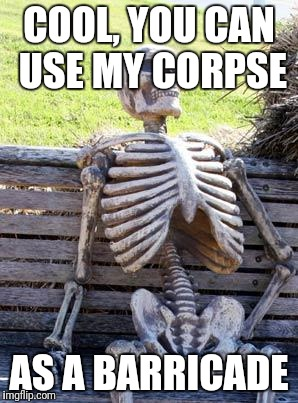 Waiting Skeleton Meme | COOL, YOU CAN USE MY CORPSE AS A BARRICADE | image tagged in memes,waiting skeleton | made w/ Imgflip meme maker