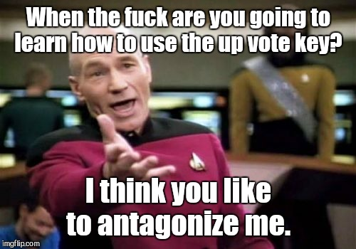 Picard Wtf Meme | When the f**k are you going to learn how to use the up vote key? I think you like to antagonize me. | image tagged in memes,picard wtf | made w/ Imgflip meme maker