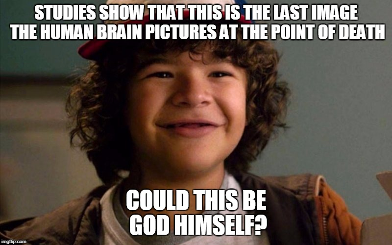 God Himself? | STUDIES SHOW THAT THIS IS THE LAST IMAGE THE HUMAN BRAIN PICTURES AT THE POINT OF DEATH COULD THIS BE GOD HIMSELF? | image tagged in memes,funny,stranger things,dustin | made w/ Imgflip meme maker