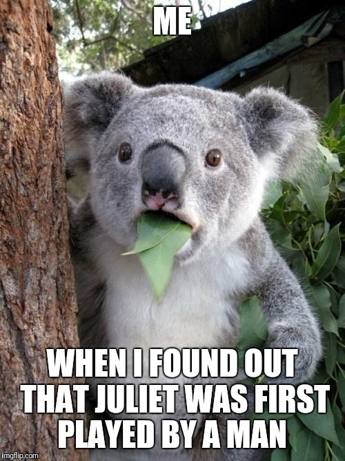 Surprised Koala | ME WHEN I FOUND OUT THAT JULIET WAS FIRST PLAYED BY A MAN | image tagged in surprised koala | made w/ Imgflip meme maker
