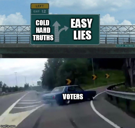Left Exit 12 Off Ramp Meme | COLD HARD TRUTHS VOTERS EASY LIES | image tagged in memes,left exit 12 off ramp | made w/ Imgflip meme maker