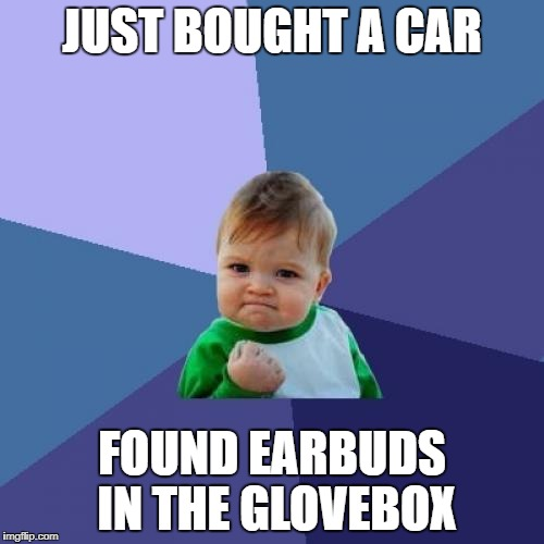 Success Kid Meme | JUST BOUGHT A CAR FOUND EARBUDS IN THE GLOVEBOX | image tagged in memes,success kid | made w/ Imgflip meme maker