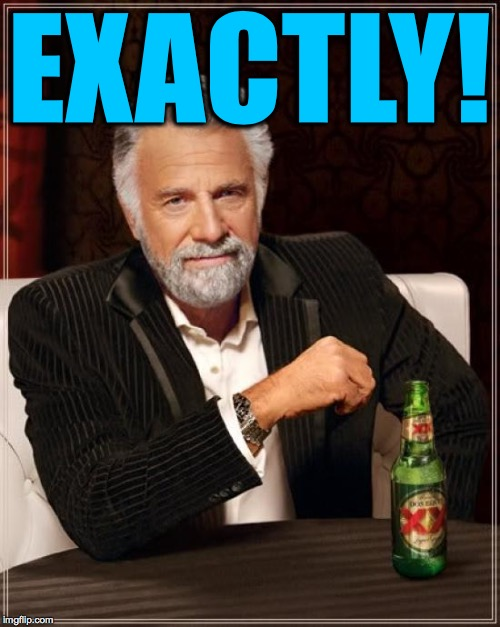 The Most Interesting Man In The World Meme | EXACTLY! | image tagged in memes,the most interesting man in the world | made w/ Imgflip meme maker