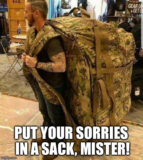 PUT YOUR SORRIES IN A SACK, MISTER! | image tagged in big ass huge camo backpack ruckzak | made w/ Imgflip meme maker