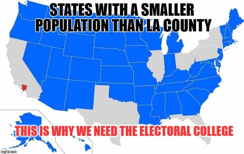 This is why we need the Electoral College | STATES WITH A SMALLER POPULATION THAN LA COUNTY THIS IS WHY WE NEED THE ELECTORAL COLLEGE | image tagged in electoral college | made w/ Imgflip meme maker