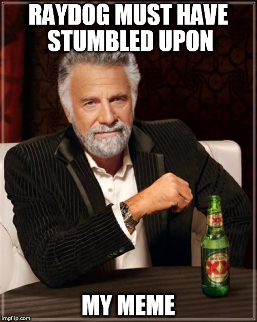 The Most Interesting Man In The World Meme | RAYDOG MUST HAVE STUMBLED UPON MY MEME | image tagged in memes,the most interesting man in the world | made w/ Imgflip meme maker