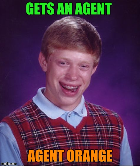 Bad Luck Brian Meme | GETS AN AGENT AGENT ORANGE | image tagged in memes,bad luck brian | made w/ Imgflip meme maker