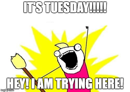 X All The Y | IT'S TUESDAY!!!!! HEY! I AM TRYING HERE! | image tagged in memes,x all the y | made w/ Imgflip meme maker