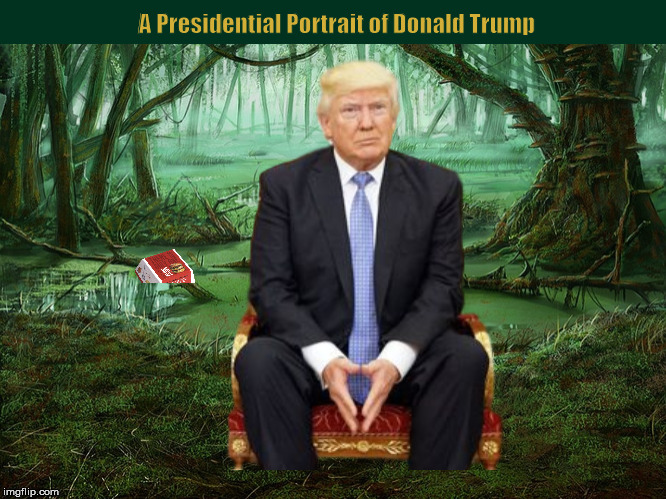 A Presidential Portrait of Donald Trump | image tagged in donald trump,presidential portrait,swamp,funny,memes,portrait | made w/ Imgflip meme maker
