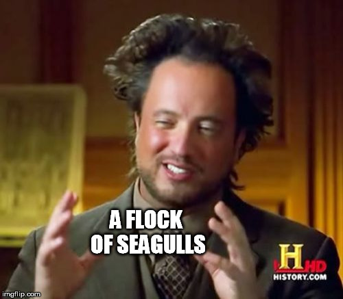 Ancient Aliens Meme | A FLOCK OF SEAGULLS | image tagged in memes,ancient aliens | made w/ Imgflip meme maker