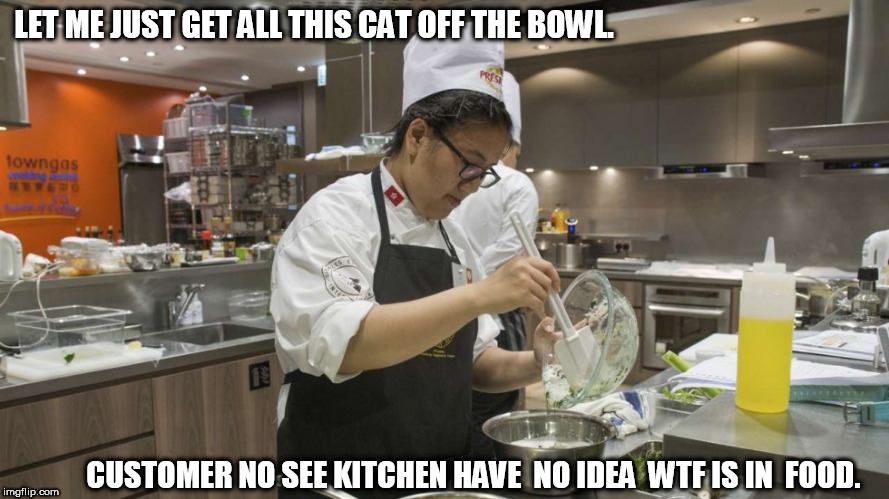 LET ME JUST GET ALL THIS CAT OFF THE BOWL. CUSTOMER NO SEE KITCHEN HAVE  NO IDEA  WTF IS IN  FOOD. | made w/ Imgflip meme maker