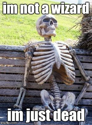 Waiting Skeleton Meme | im not a wizard im just dead | image tagged in memes,waiting skeleton | made w/ Imgflip meme maker